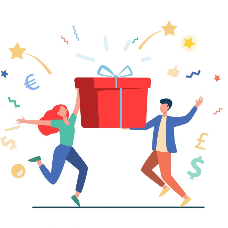 Couple winning prize. Man and woman holding gift box flat vector illustration. Lottery, present, birthday party concept for banner, website design or landing web page